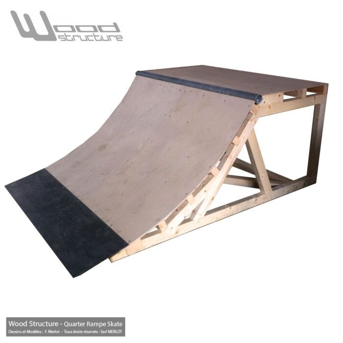 Module Skate pour particulier - Quarter rampe skate 1.5 - Quarter Rampe roller bmx trottinette - Kit prêt à monter - Wood Structure Skatepark
