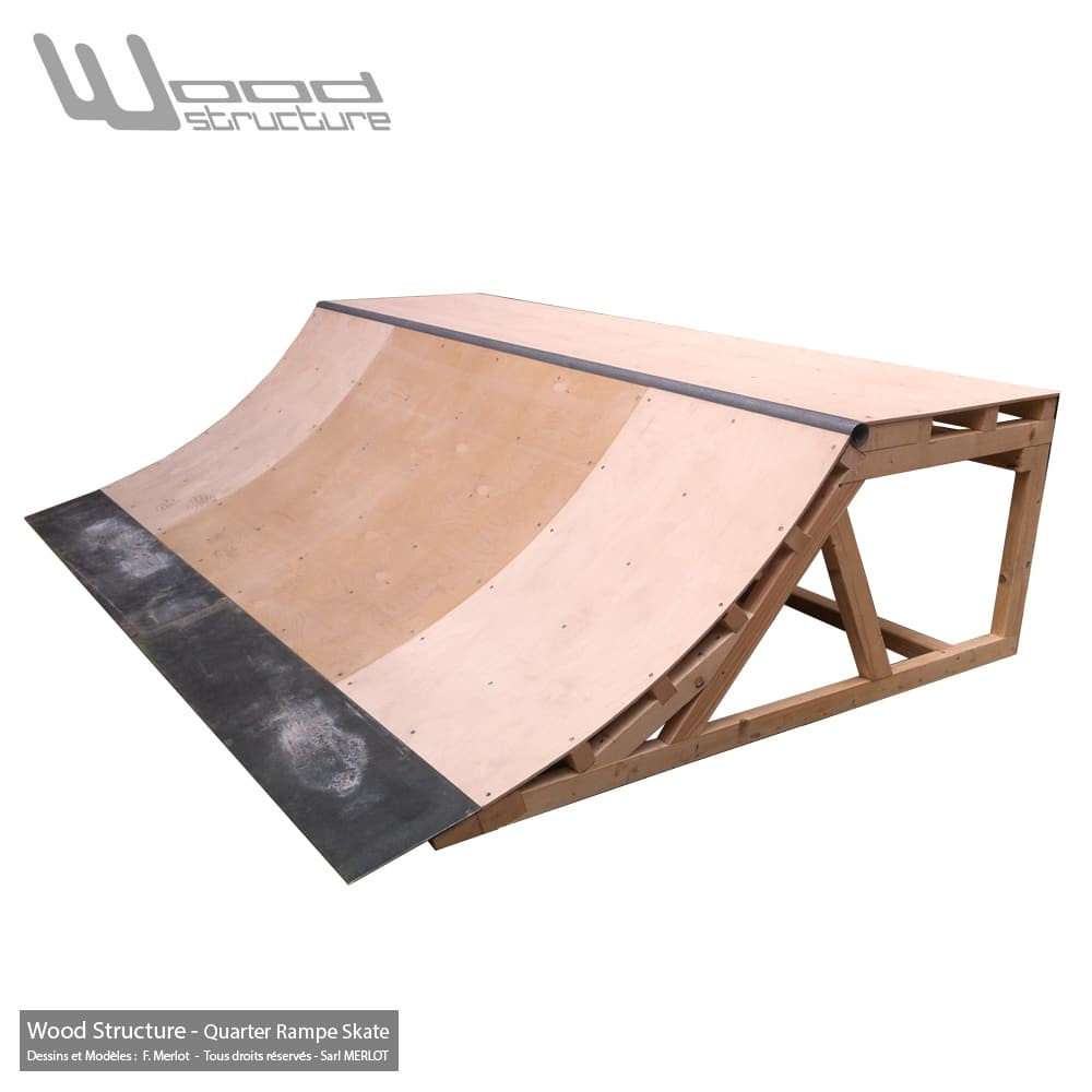 Module Skate pour particulier - Quarter rampe skate 3.0 - Quarter Rampe roller bmx trottinette - Kit prêt à monter - Wood Structure Skatepark