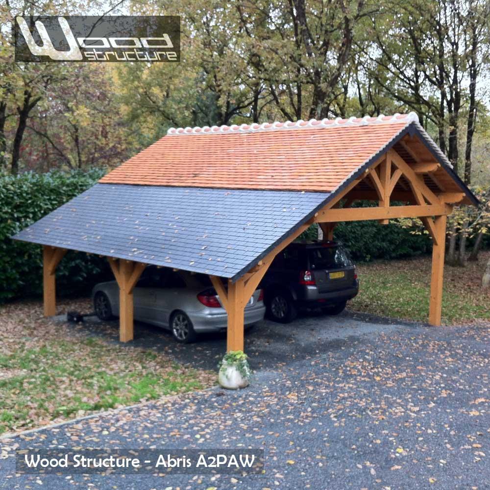 Super Abris 2 Pans Asymétrique - Charpente Bois - Wood Structure LO01
