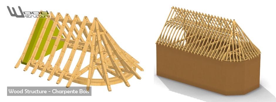 Taille de Charpente Bois - Bâtiment bois - Maisons bois - Abris - Appenti - Pergola - Wood Structure - Bureau Etude Construction Bois - Charpente Ossature bois et Habitat - Richelieu - Indre et Loire - Région Centre - France