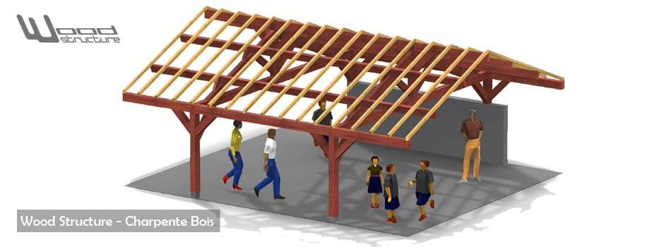 Taille de Charpente Bois - Bâtiment bois - Maisons bois - Abris - Appenti - Pergola - Wood Structure - Bureau Etude Construction Bois - Charpente Ossature bois et Habitat - Richelieu - Indre et Loire Région Centre - France