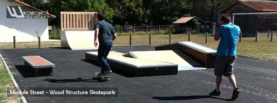 Module Street skate et rampe - bmx - roller - trottinette - Wood Structure - Fabricant de Skatepark depuis 1990