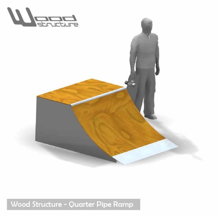 Quarter rampe skate 1.5 - Quarter Rampe roller bmx trottinette - Kit prêt à monter - Wood Structure Skatepark