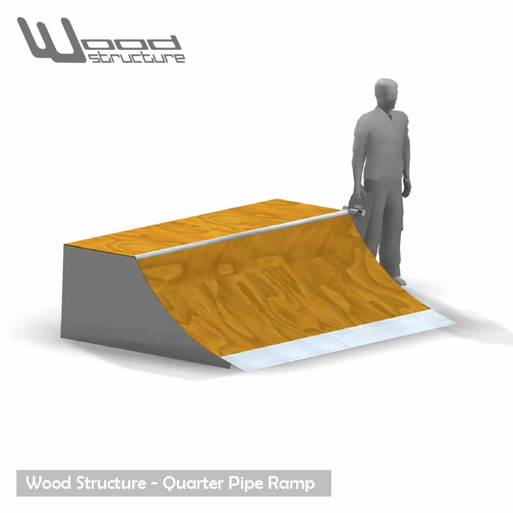 Quarter rampe skate 3.0 - Quarter Rampe roller bmx trottinette - Kit prêt à monter - Wood Structure Skatepark