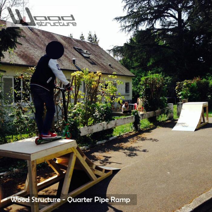 Quarter rampe skate 0.75 - Quarter Rampe roller bmx trottinette - Kit prêt à monter - Wood Structure Skatepark