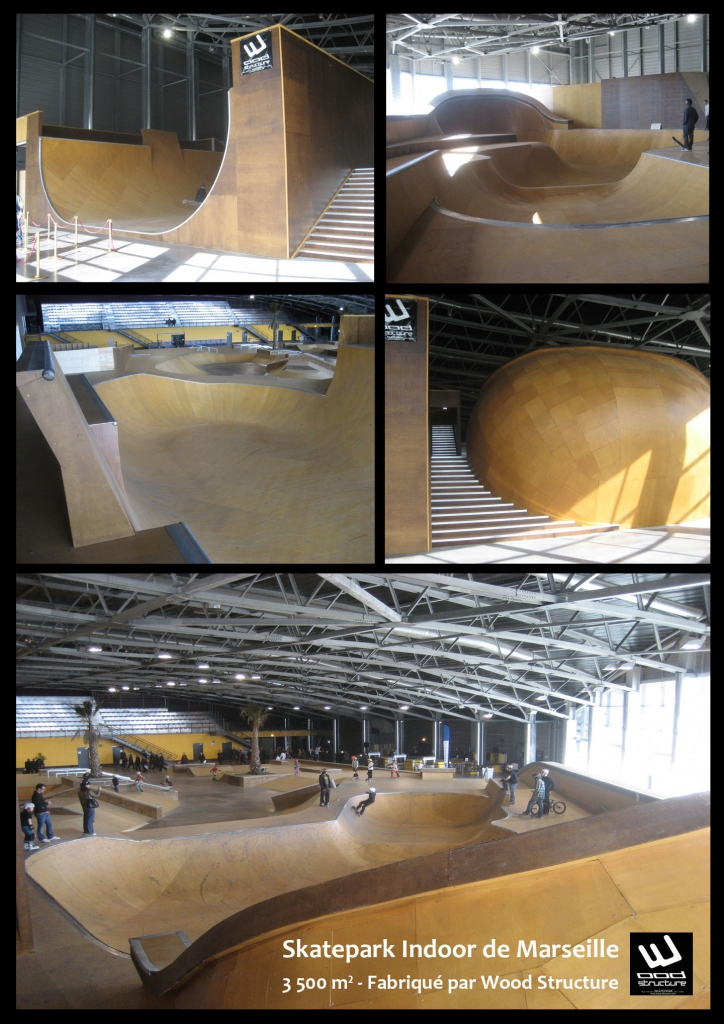 Palais de la Glisse - Skatepark indoor de Marseille - Wood Structure - Fabricant de Skatepark depuis 1990