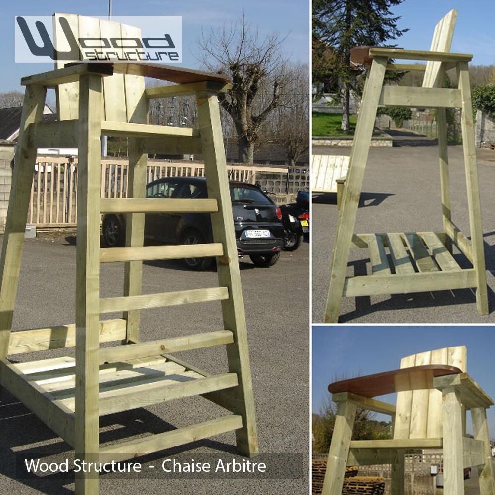 Chaise arbitre et joueurs wood structure for Chaise arbitre tennis