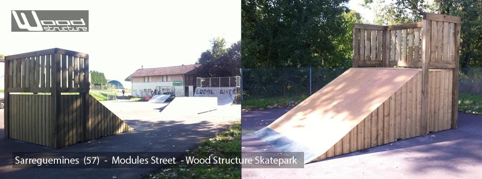 Modules sur aire de Street du Skatepark de Sarreguemines (57) - Wood Structure Skatepark