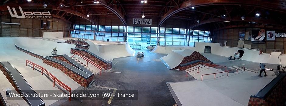 Skatepark de Lyon - Gerland (69) - Street & Bowl - Wood Structure Skatepark