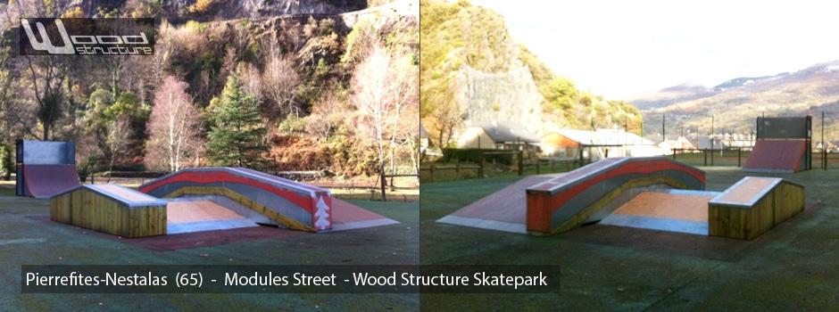 Modules sur aire de Street du Skatepark de Pierrefite-Nestalas (65) - Wood Structure Skatepark