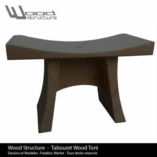 Tabouret Black Wood Torii - Wood Structure - Mobilier bois en Sapin du Nord - Livré monté - Fabriqué en France à Richelieu (37) | Dessins et Modèles déposés par Frédéric Merlot - Tous droits réservés