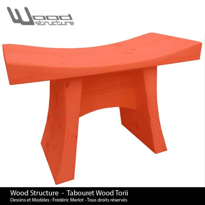Tabouret Red Wood Torii - Wood Structure - Mobilier bois en Sapin du Nord - Livré monté - Fabriqué en France à Richelieu (37) | Dessins et Modèles déposés par Frédéric Merlot - Tous droits réservés