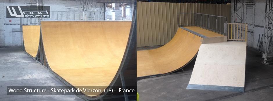 Rampe Spine - Skatepark Indoor de Vierzon - Wood Structure Skatepark