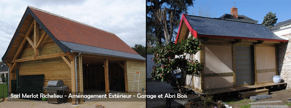 Charpente Abris Bois - Grange, Garage, Appenti, Carport, Extension Bois - Wood Structure - Bureau Etude Construction Bois -Charpente Ossature bois et Habitat - Richelieu - Indre et Loire - Région Centre Val de Loire - France