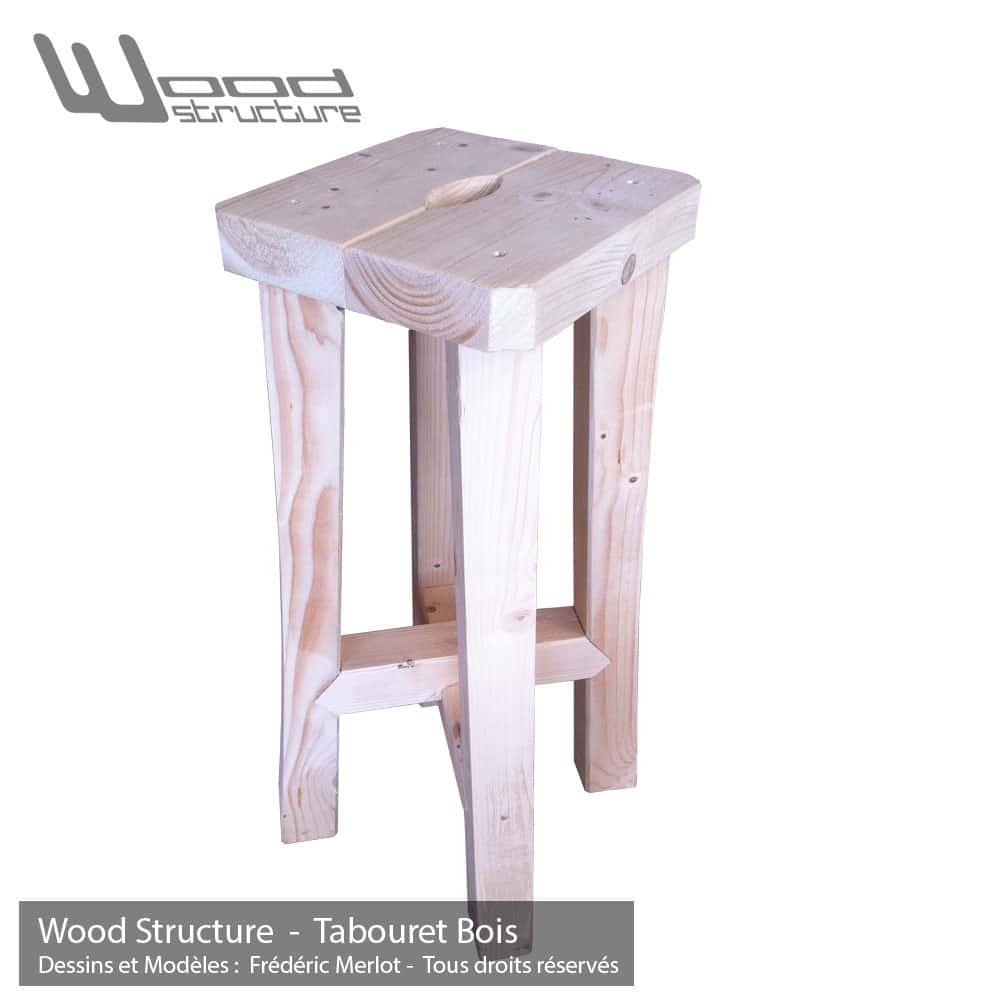 Tabouret bois wood structure for Mobilier bois
