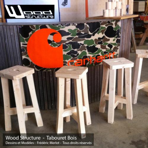 Tabouret Bois Trépied en sapin du nord - Salon de Jardin - Mobilier bois - Tabouret de Bar - Fabriquée en France par la Sarl Merlot & Wood Structure - Richelieu - France