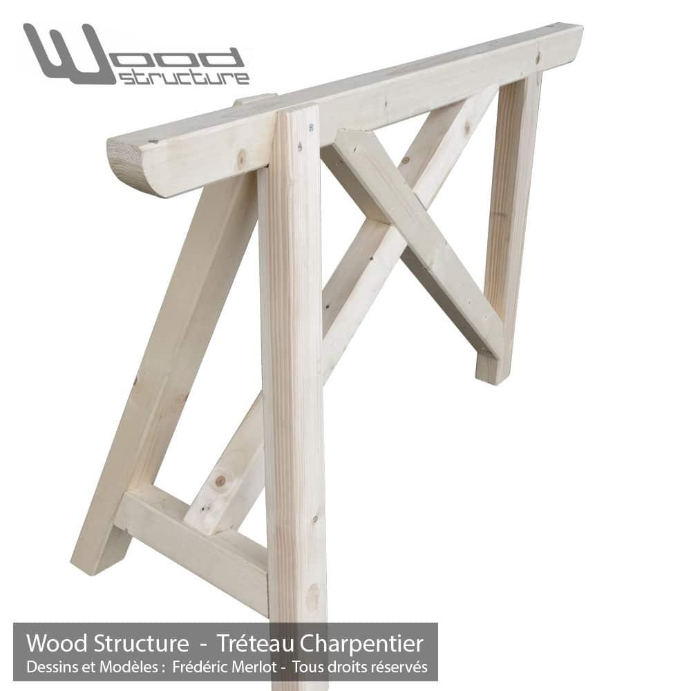 Tr teau bois tr pied charpentier wood structure for Mobilier bois