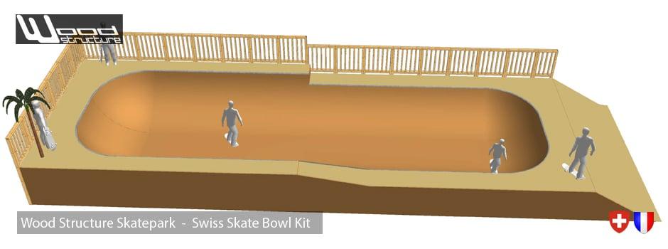 Swiss Skate Bowl kit - Bowl de Skateboard en Kit installé en Suisse par notre client dans son skatepark privé - Wood Structure