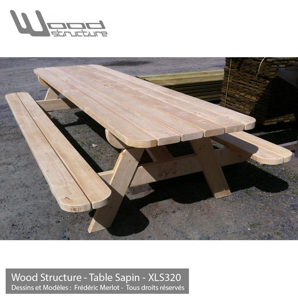 Table pique-nique XL - Table de jardin - Wood Structure -