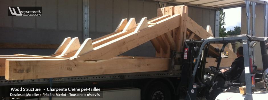 Kit Charpente Chêne pré-taillé et livré assemblée - Taille de Charpente bois Wood Structure - Sarl Merlot - Richelieu - France