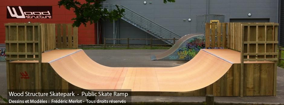 Rampe Skate au Skatepark de Guichen (35) - Par Wood Structure Concepteur et fabricant de Skatepark depuis 1990