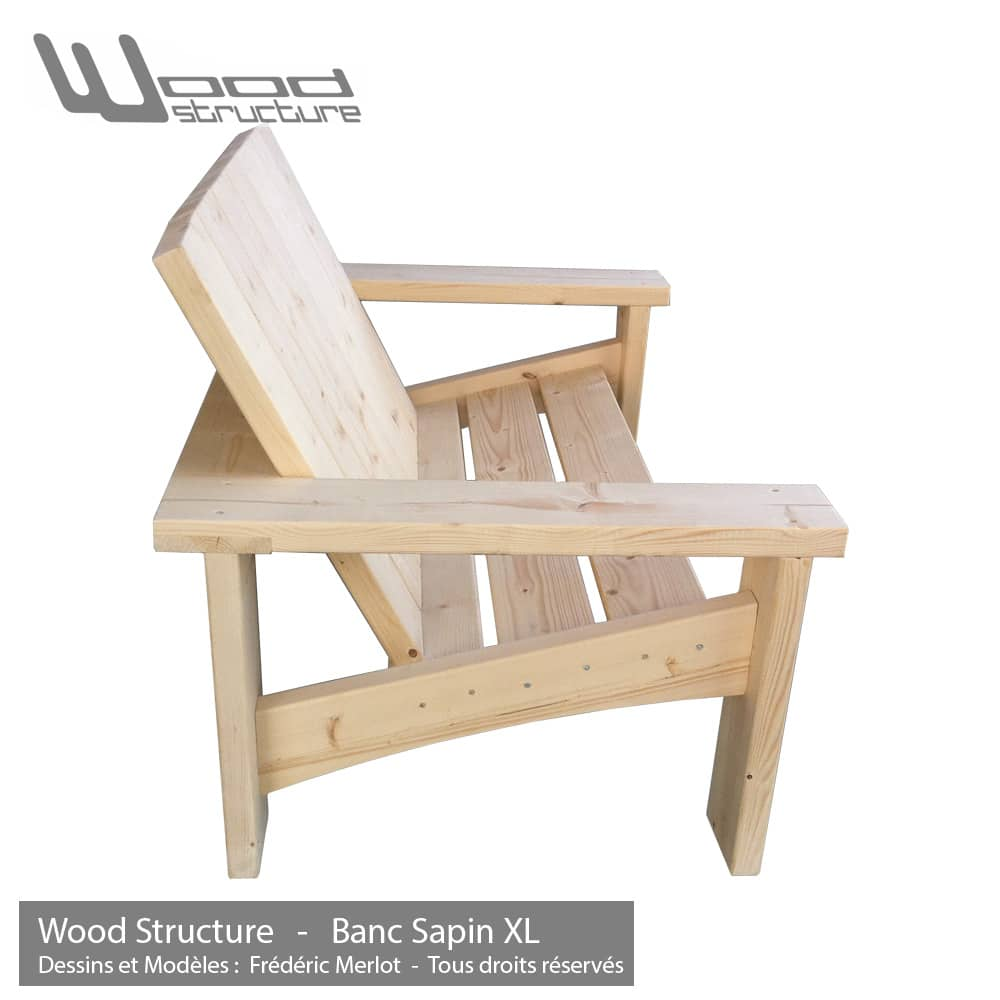 banc pour salon de jardin wood structure. Black Bedroom Furniture Sets. Home Design Ideas