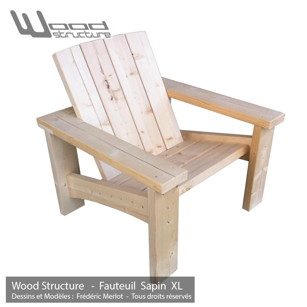 fauteuil sapin xl fauteuil de jardin wood structure. Black Bedroom Furniture Sets. Home Design Ideas