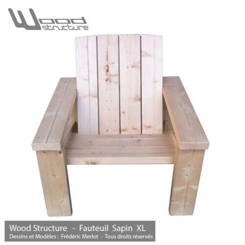 Fauteuil Sapin XL - Design Wood Structure - Fabriqué en France par la Sarl Merlot - Fauteuil Banc - Table - Mobilier bois et Salon de Jardin
