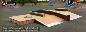 Skatepark de St George d' Oléron   Table Street - Funbox sur-mesure en Skatelite Pro   Installée par Wood Structure   Fabricant de Skatepark depuis 1990