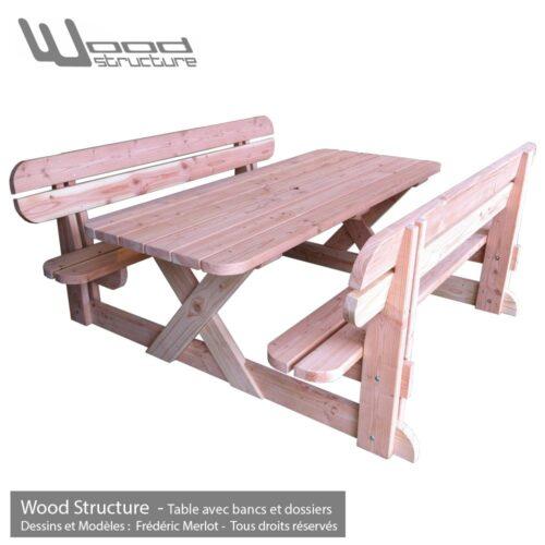 Table de pique-nique banc et dossier - table picnic banc dossier en sapin douglas - Fabriquée en France par la Sarl Merlot & Wood Structure - Fauteuil - Banc - Salon de Jardin