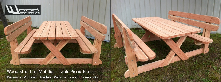 Table picnic douglas wood structure for Plan de banc de jardin