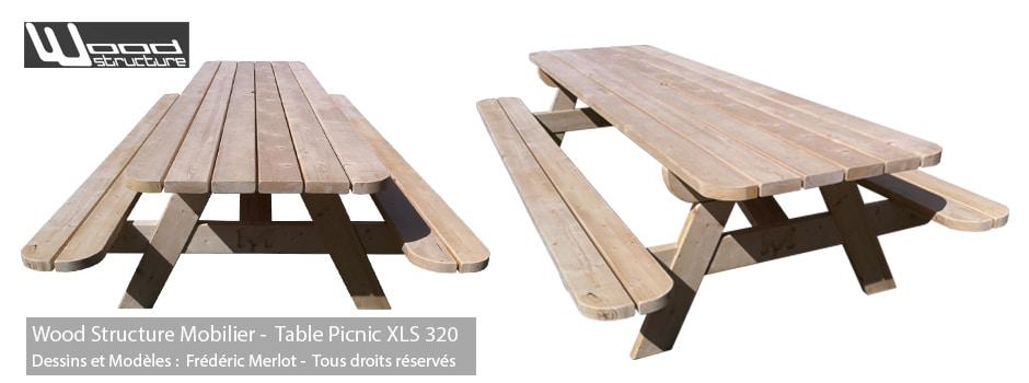 Table de pique-nique XL 320 en Sapin du Nord - Fabriquée en France par la Sarl Merlot & Wood Structure - Table picnic en Sapin du nord - Livrée en kit avec fourniture et plan de montage