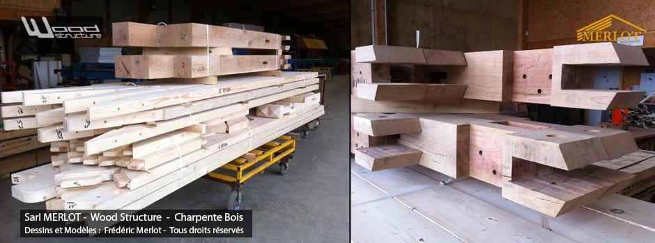 Charpente bois sur-mesure, bâtiment, abris, préau, carport, garage voiture - Wood Structure - Fabriqué en France à Richelieu par la Sarl MERLOT Charpente bois - Indre-et-Loire - Centre Val de Loire