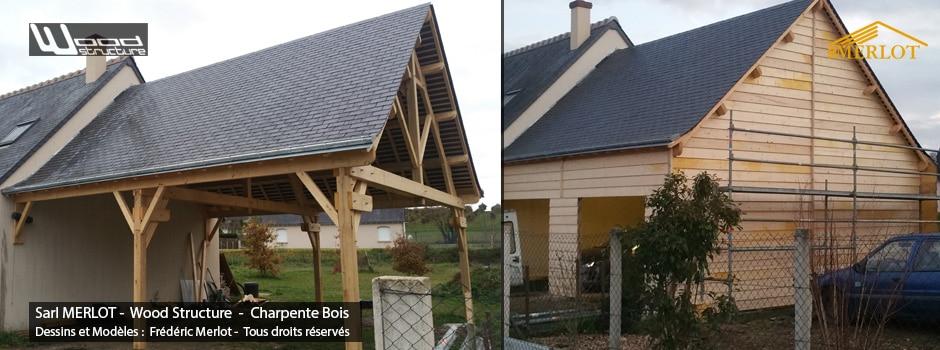 Garage Double pentes pour voitures ou extension maison - Charpente abris garage voiture - Wood Structure - Fabriqué en France à Richelieu par la Sarl MERLOT Charpente bois - Indre-et-Loire - Centre Val de Loire