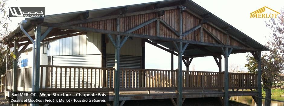 Guinguette de Pouzay (37) - Charpente - Préau - Abris sur pilotis - Wood Structure - Sarl MERLOT Charpente Bois - Richelieu - Centre Val de Loire - France