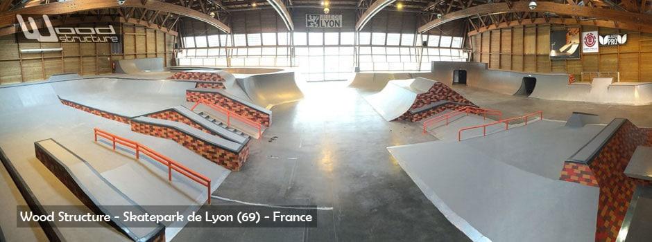 Nouveau Skatepark Indoor de Lyon Gerland - Septembre 2015 - Fabriqué par Wood Structure et Sarl Merlot - Fabricant de Skatepark pour Skateboard, Roller, Trottinette et Bmx, depuis 1998