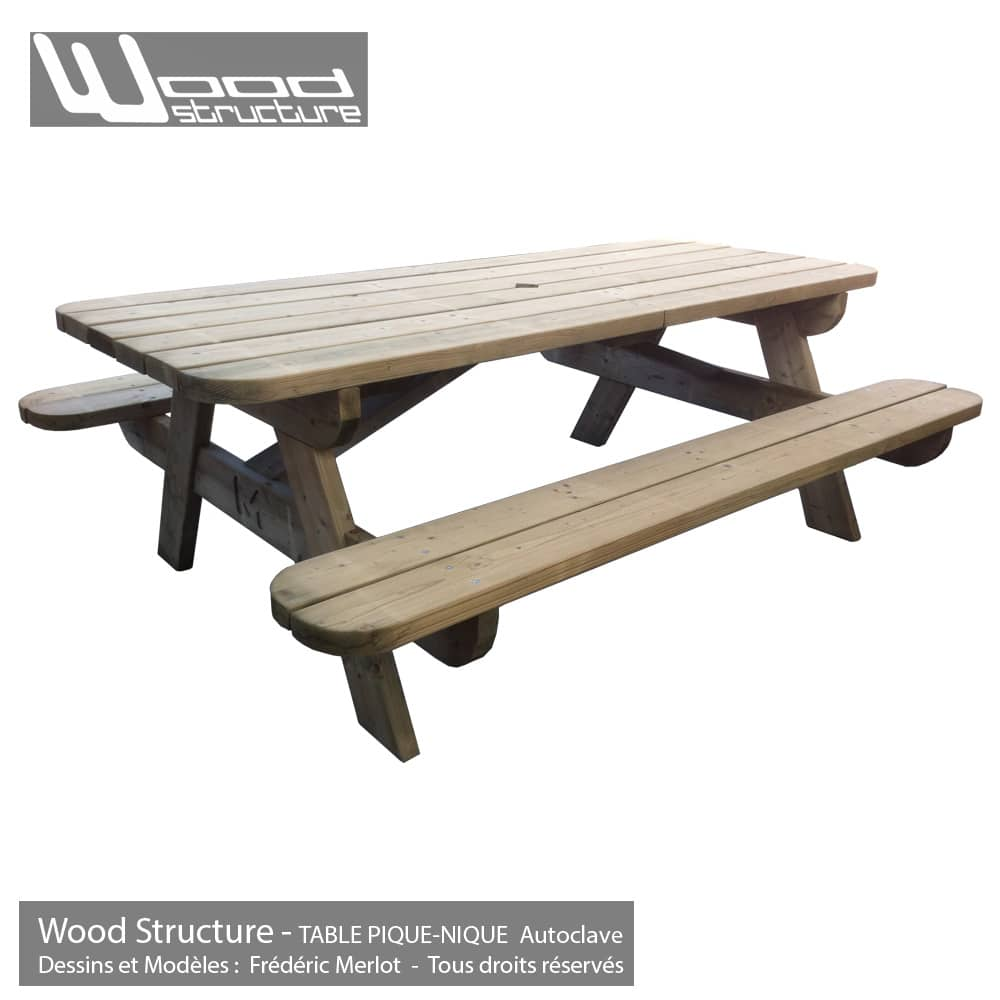 table pique nique table de jardin wood structure. Black Bedroom Furniture Sets. Home Design Ideas