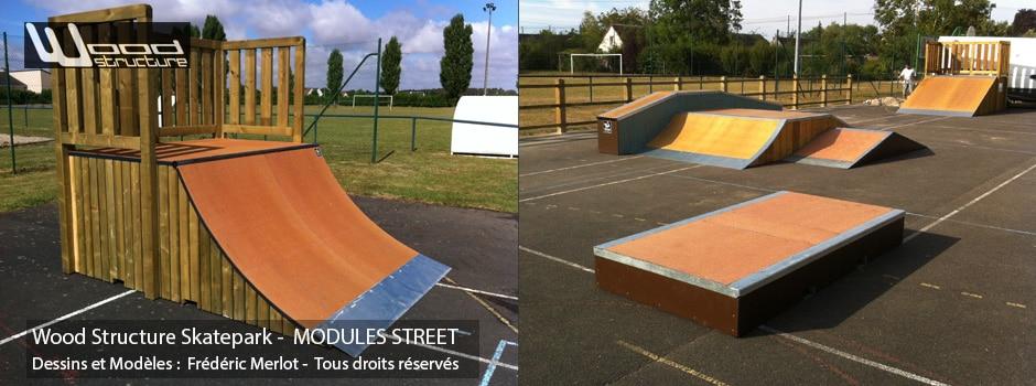 Skatepark de Fosse (41) | Modules pour Skatepark Street sur-mesure pour trottinette freestyle, roller, skate et bmx| Skatepark installé par Wood Structure | Fabricant de Skatepark depuis 1990
