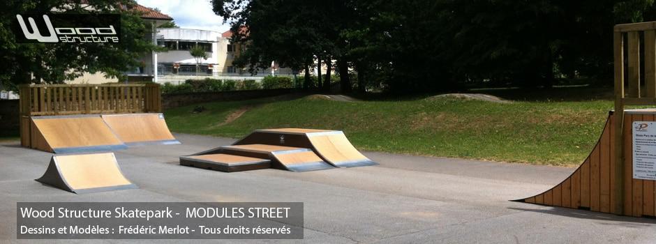 Skatepark de Panazol (87) | Module Skatepark Street sur-mesure pour trottinette freestyle, roller, skate et bmx| Skatepark installé par Wood Structure | Fabricant de Skatepark depuis 1998