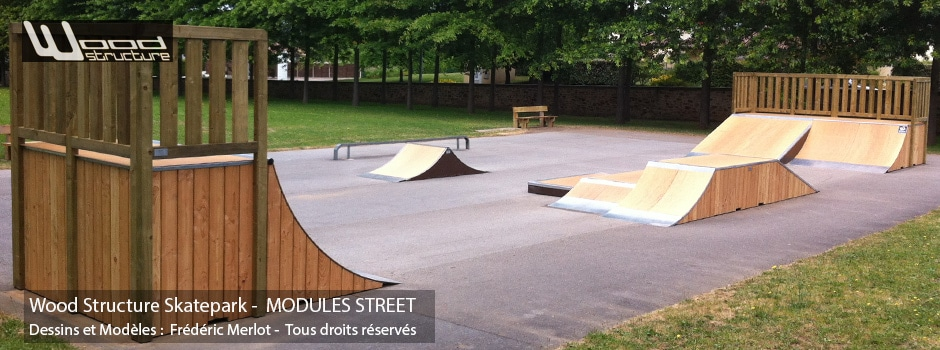 Skatepark de Panazol (87) | Module Skatepark Street sur-mesure pour trottinette freestyle, roller, skate et bmx| Skatepark installé par Wood Structure | Fabricant de Skatepark depuis 1990