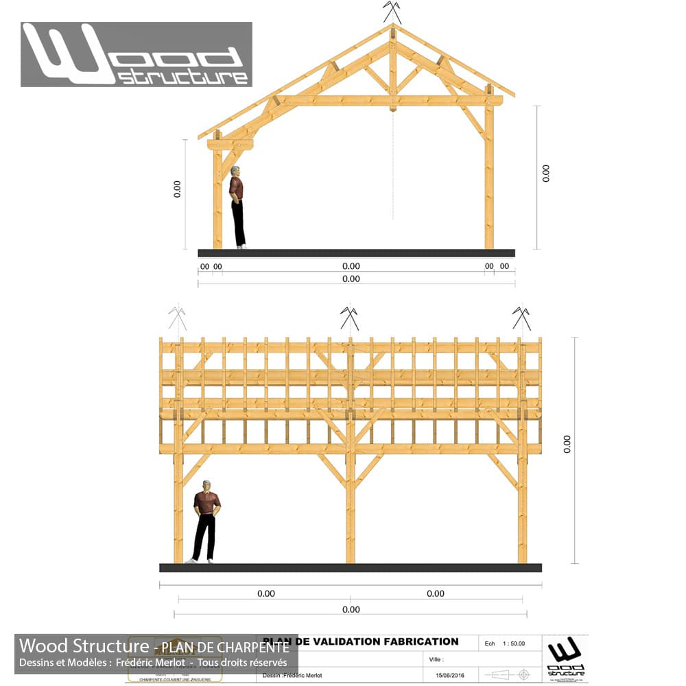 Plan de charpente bois wood structure for Declaration prealable de travaux abri de jardin
