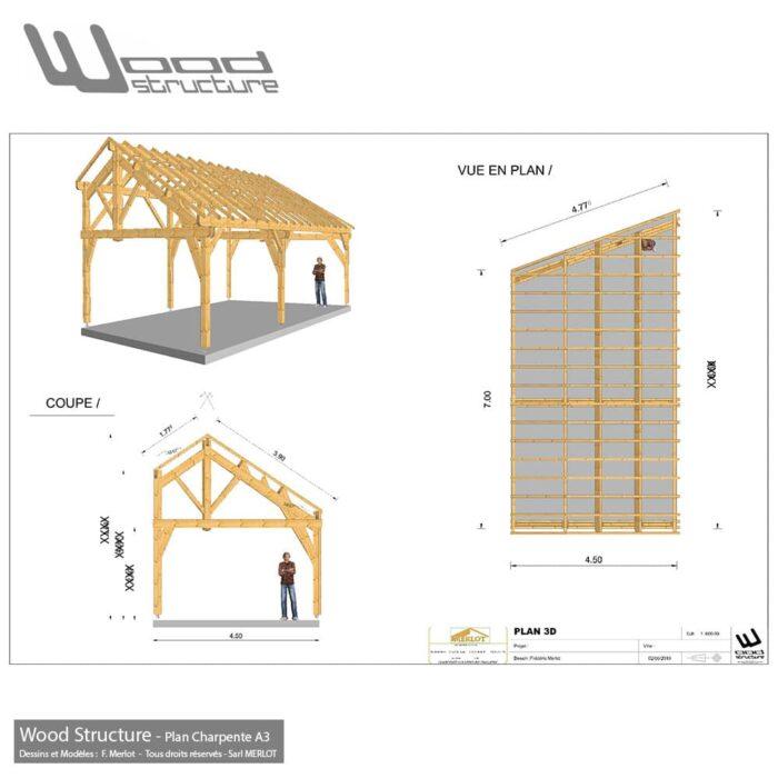 Plan de Charpente pour déclaration préalable de travaux - Wood Structure - Bureau d'étude Construction Bois