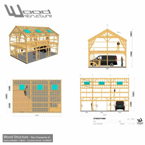 Plan de Charpente pour déclaration préalable de travaux - Wood Structure - Bureau d'étude Construction Ossature Bois