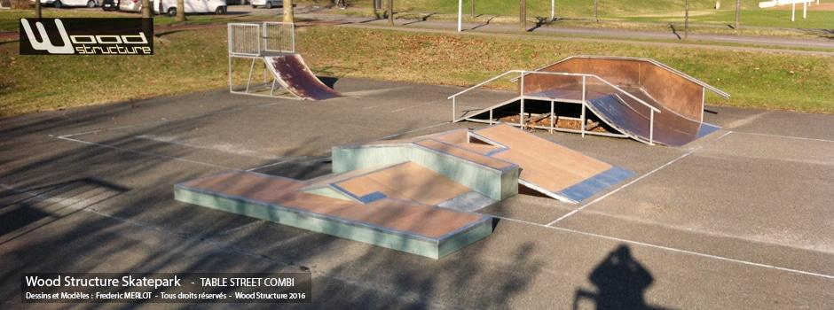 Skatepark des Pupilles de L'air (38 - Auvergne-Rhône-Alpes) près de Grenoble | Modules pour Skatepark - Table Street Combi  sur-mesure pour trottinette freestyle, roller, skate et bmx| Skatepark installé par Wood Structure | Fabricant de Skatepark depuis 1998