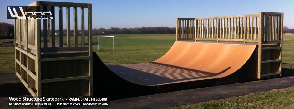 Rampe Skate au Skatepark de Villeneuve-la-Dondagre (89) - Yonne - Bourgogne-Franche-Comté - Par Wood Structure - Concepteur et fabricant de Skatepark depuis 1990