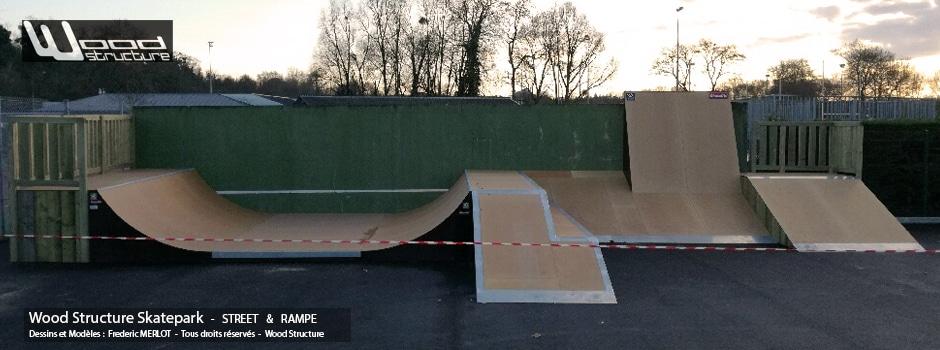 Skatepark à Angers (49) - Pyramide, Wall Ride et Mini Rampe Skate - Module Skatepark Fabriqué par Wood Structure - Sarl MERLOT Richelieu (37) - Val de Loire - France