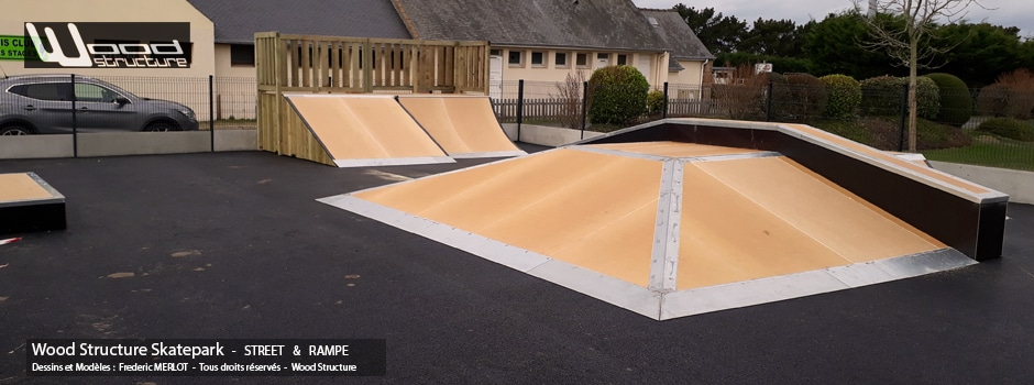 Skatepark à Tregastel (22) - Pyramide, Funbox, Quarter, Transfert et Mini Rampe Skate - Module Skatepark Fabriqué par Wood Structure - Sarl MERLOT Richelieu (37) - Val de Loire - France