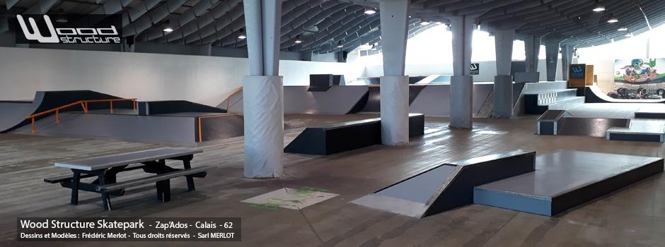 Skatepark Indoor de Calais (62) - Zap'Ados - Modules Street et Bowl fabriqués par la Sarl Merlot à Richelieu (37) et conçus par Wood Structure Skatepark , Fabricant de Skatepark depuis 1990