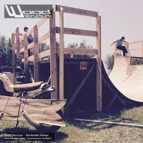 Rambarde Rampe Skate - Garde-corps de sécurité sur plateforme de Rampe Skate Wood Structure - Fabricant de Skatepark depuis 1990