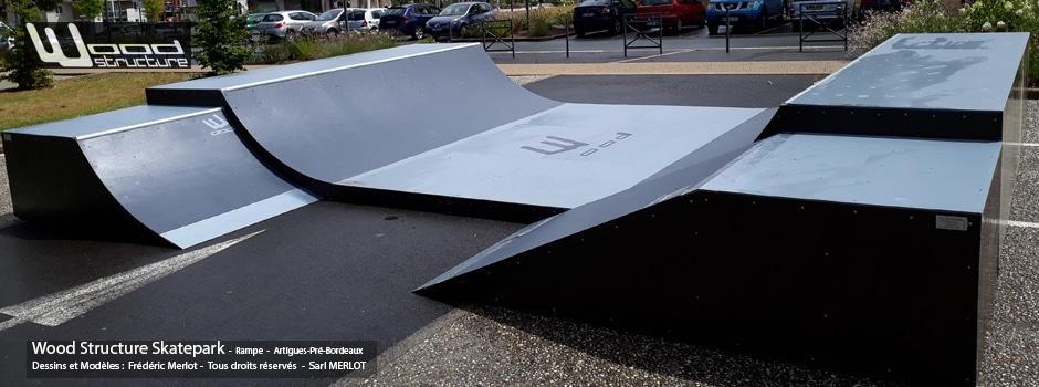 Combo Mini Rampe Skate au skatepark de Artigues-pré-Bordeaux (89) - Par Wood Structure - Concepteur et fabricant de Skatepark depuis 1990